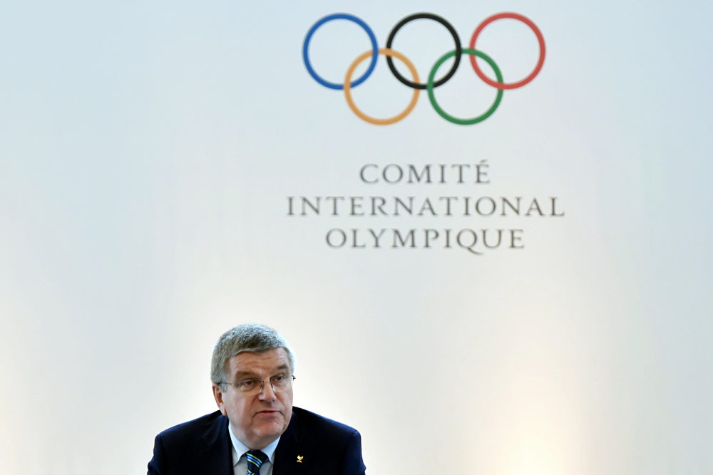 Thomas Bach, President of the International Olympic Committee, attending a press conference in Lausanne. An IOC summit in Lausanne is to discuss access by Russian track-and-fielders to the Olympic Games in Rio de Janeiro following the IAAF decision to extend the Russian Athletics Federation barring.
