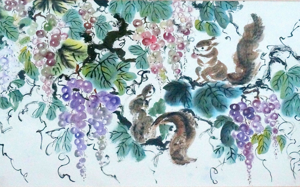 Savuk uses Chinese ink and mineral paint on rice paper.