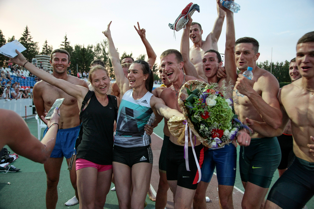 Russian national team pose for a photo at the National track and field championships at a stadium in Cheboksary, Russia, June 21, 2016.