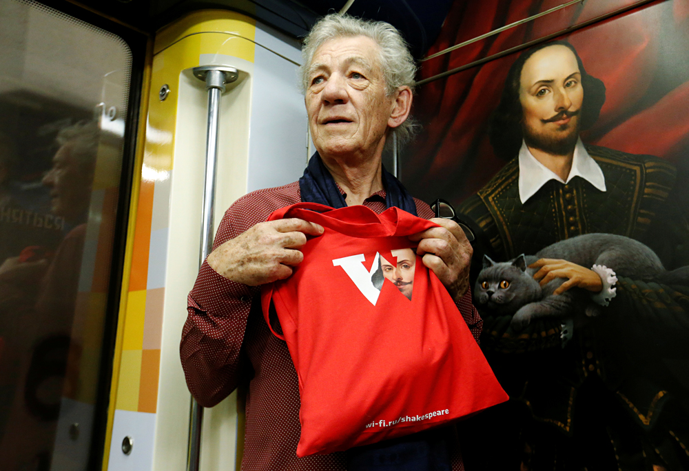 British actor Sir Ian McKellen rides the Shakespeare branded metro train in Moscow, Russia, June 22, 2016