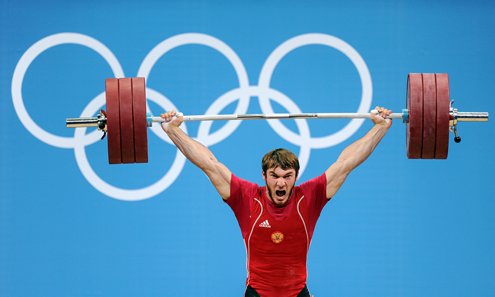 Russia's Apti Aukhadov takes part in the men's weighlifting 85kg competitions at the 30th Summer Olympics in London.