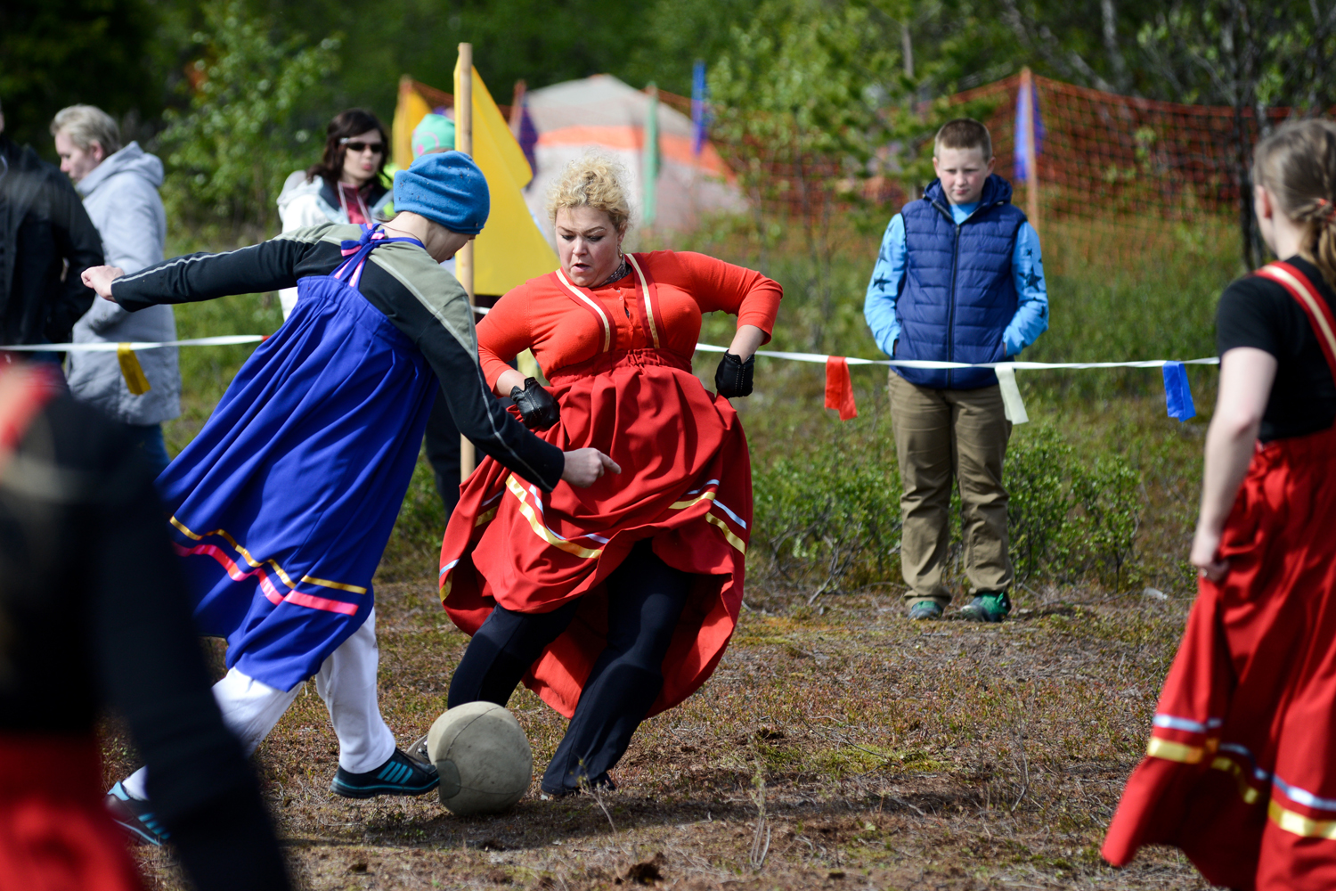 And whereas in normal soccer the goalkeeper can cover the ball with their body, in Saami football the goalkeeper protects the ball by covering it with the hem of the skirt.