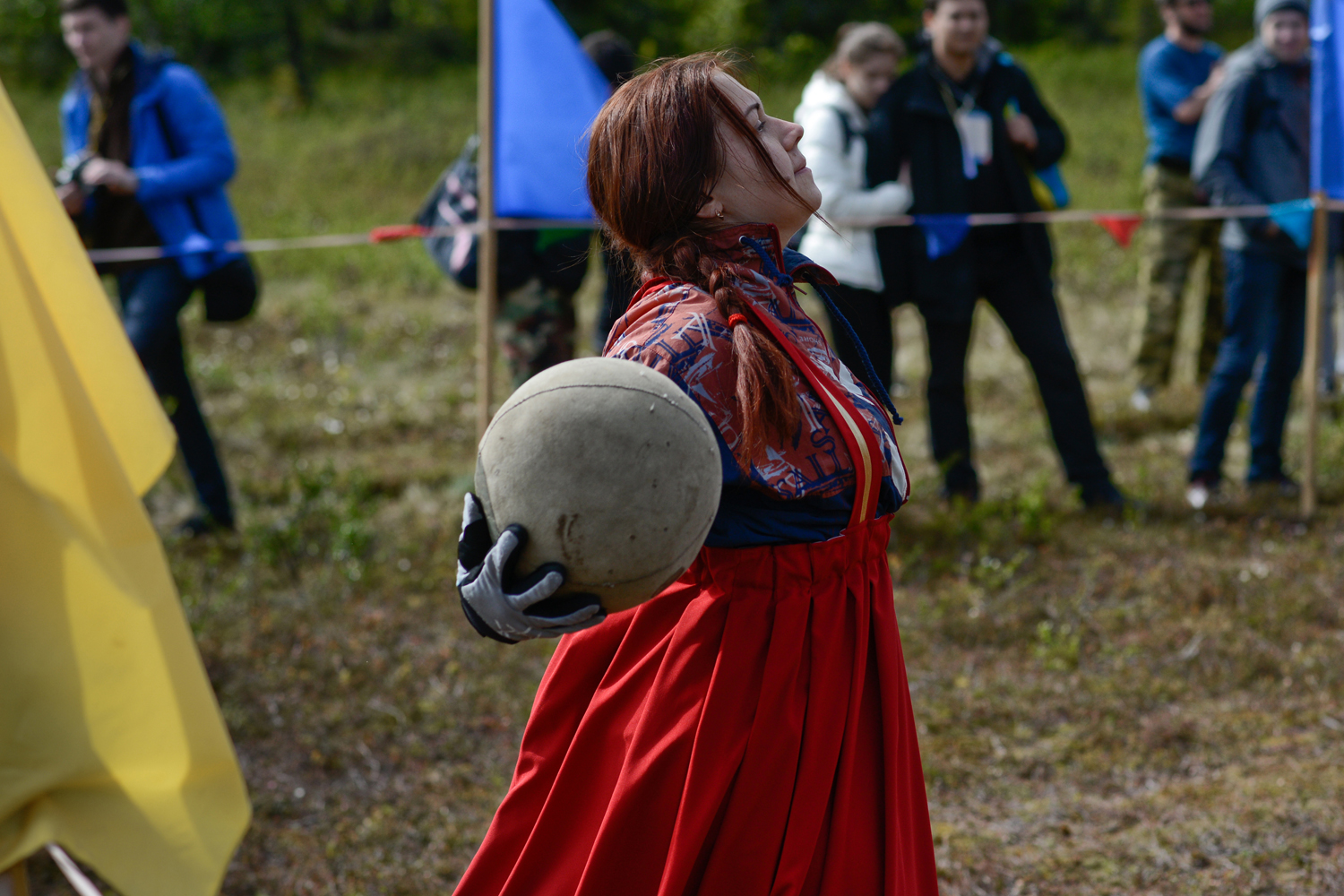 The ball in Saami football is sewn from reindeer skins and stuffed with deer hair or pieces of buckskin. It is quite heavy compared to a conventional soccer ball, but as ever players cannot use their hands, except the goalkeeper, of course.