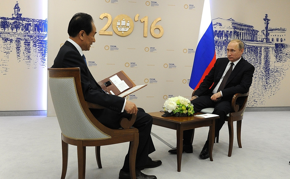 Vladimir Putin gave an interview to General Director of China's Xinhua news agency, Cai Mingzhao.