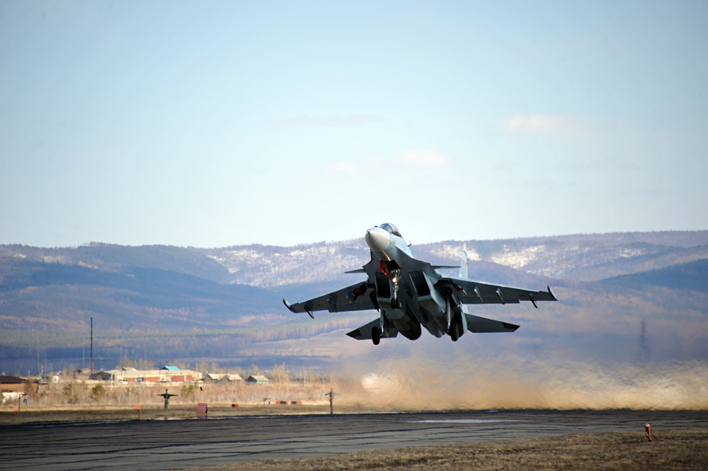 A Su-30SM fighter jet on a training mission in Zabaykalsky Territory.