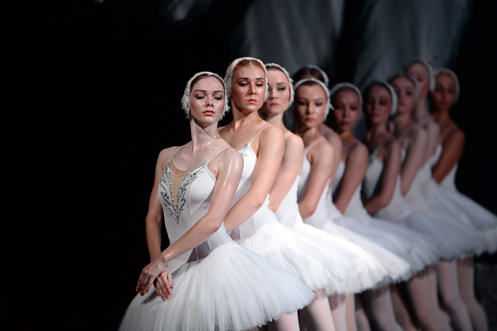 A scene from Swan Lake presented at the Russian Academic Youth Theater (RAMT) in Moscow.