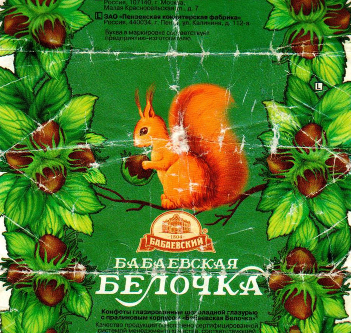 """Belochka"", the squirrel, is an immortal brand and a product of the Babaevsky confectionery. Many other praline chocolates imitate this design on the Russian market. It is a common pattern in Russia to name sweets after animals."