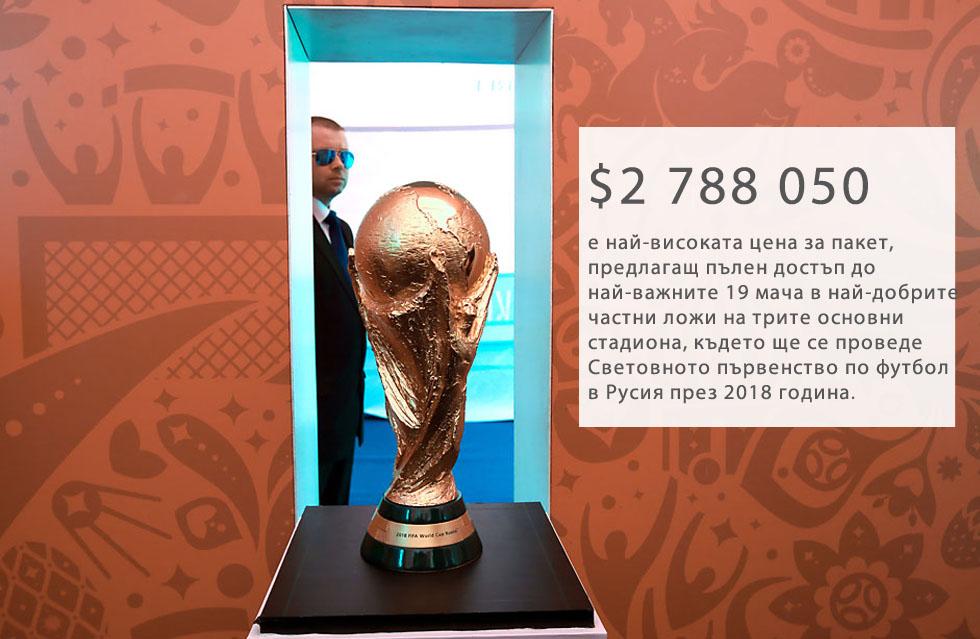 """На 7 юни 2016 г. управляващият орган на ФИФА започна продажбите на най-скъпите билети за Световното по футбол през 2018 година. Двайсет пакета, наречени """"Голямата тройка"""", на цени от $1,4 млн. до $2,8 млн., гарантират луксозно гостоприемство и най-добрите възможни места за 19 мача в Москва и Санкт Петербург, включително на откриването, двата полуфинала и финала на шампионата през 2018 година. Продажбите на билети за стандартните места още не са започнали, а ценовият им диапазон все още не е оповестен.Шампионатът ще се проведе на 12 различни стадиона в 11 града в цялата страна. Церемонията по откриването ще се състои на 14 юни, а финалният мач ще се играе на 8 юли. И двете събития ще са на стадион """"Лужники"""" в Москва."""