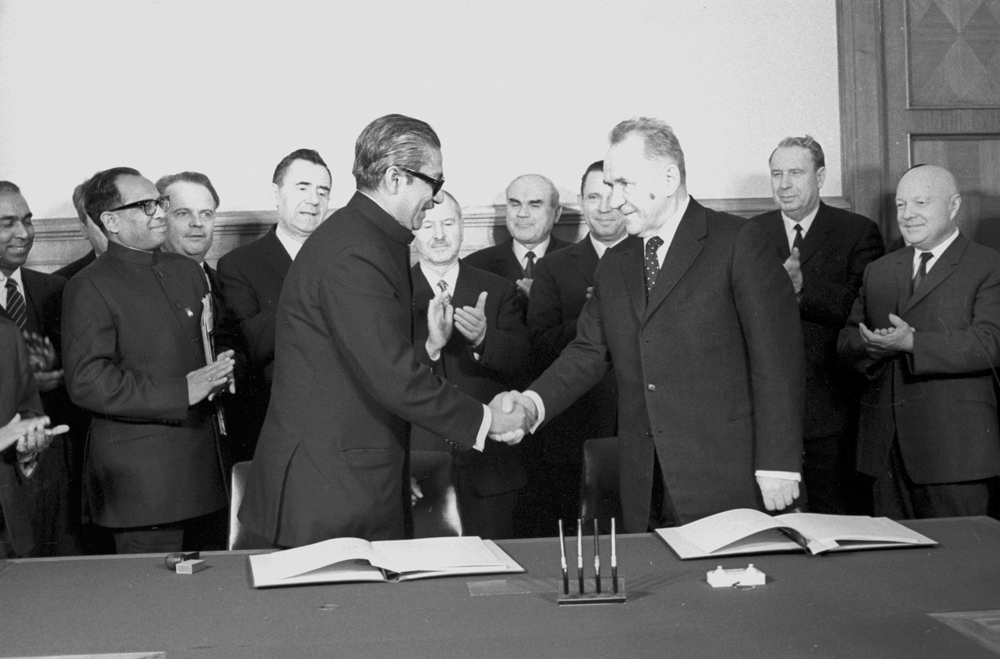 Moscow had friendly ties with almost every South Asian country. Pictured above are Bangladeshi leader Sheikh Mujibur Rahman, foreground left, and Chairman of the Soviet Council of Ministers Alexei Kosygin, foreground, in 1972 in Moscow