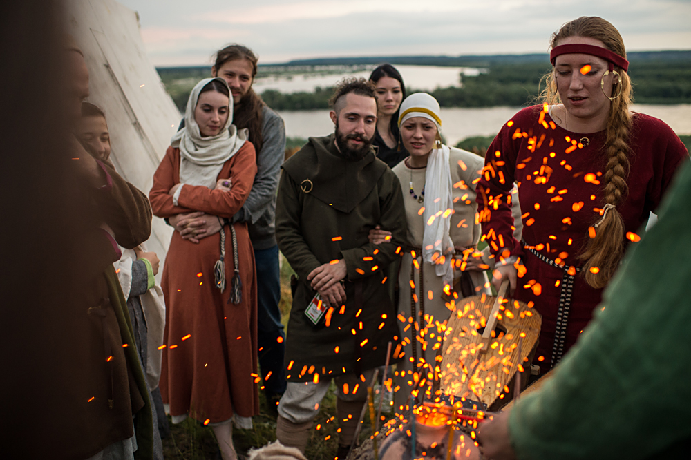 Participants in the Abalakskoye Field reenactment festival near Tobolsk.