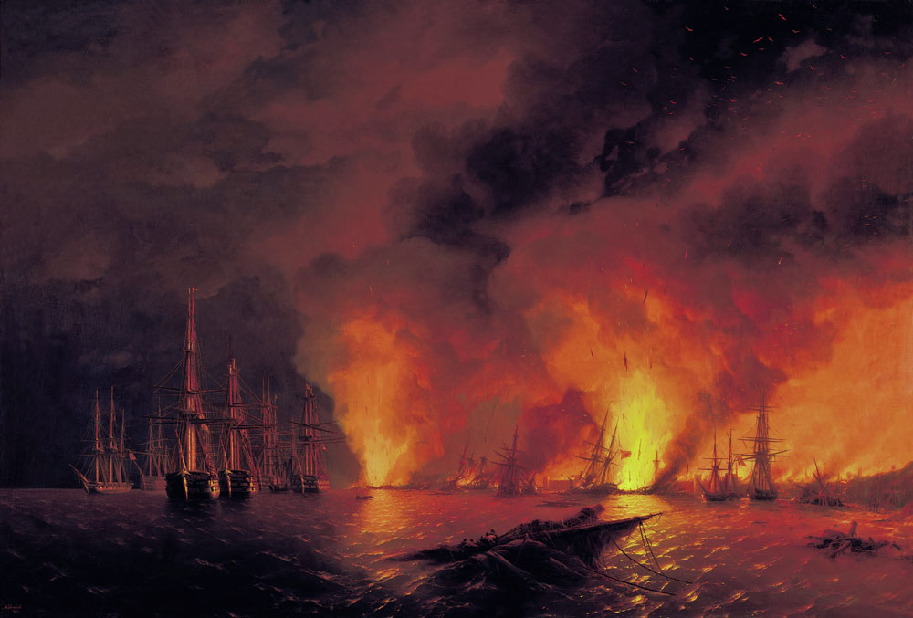 Tensions in Europe boiled over into the enormous military conflict known as the Crimean War (1853-56), when Russia battled a coalition consisting of Great Britain, France, Sardinia and the Ottoman Empire in the Black Sea, the Balkans, the Caucasus and even the Arctic Ocean. // The Battle of Sinop. A paining by Ivan Aivazovsky