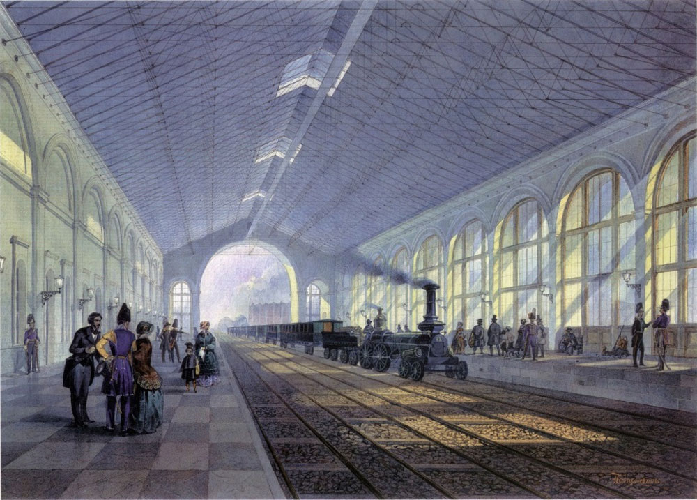 Nicholas I masterminded and completed the first Russian railway that linked St. Petersburg with Moscow in 1851. It was his idea to make the rail gauge wider in order to prevent the enemy from using it.  // Nikolaevsky railway station in St.Petersburg. A painting by A.V. Pettsolt
