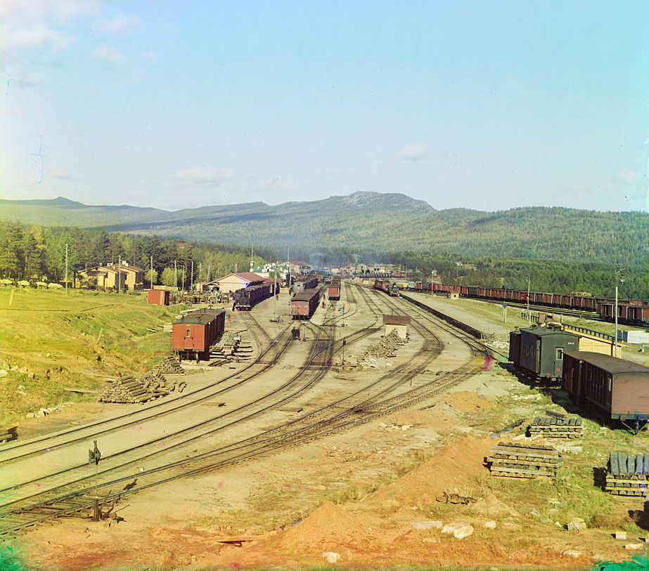 Here are some of Prokudin-Gorsky's best color snapshots from the town of Zlatoust, located on the Ay River 100 miles from Chelyabinsk and 1,000 miles from Moscow. The city was founded in 1754 when the construction of the ironworks began here. Since 1815, the city's life has revolved around the armory plant, which is well known in Russia for the production of steel weapons. // Zlatoust Railway Station