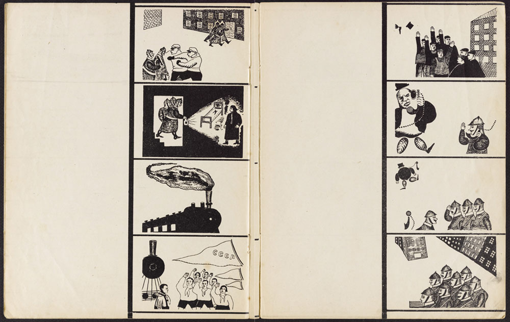 A collage of pages from the movie-book. Source: Princeton University Library