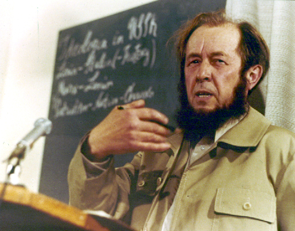 Alexander Solzhenitsyn gives his first news conference in the West since being expelled from Russia, 1974.