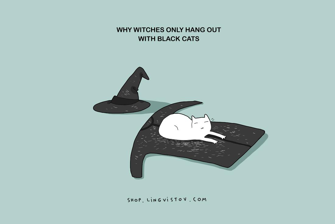 Защо вещиците обичат компанията само на черни котки.