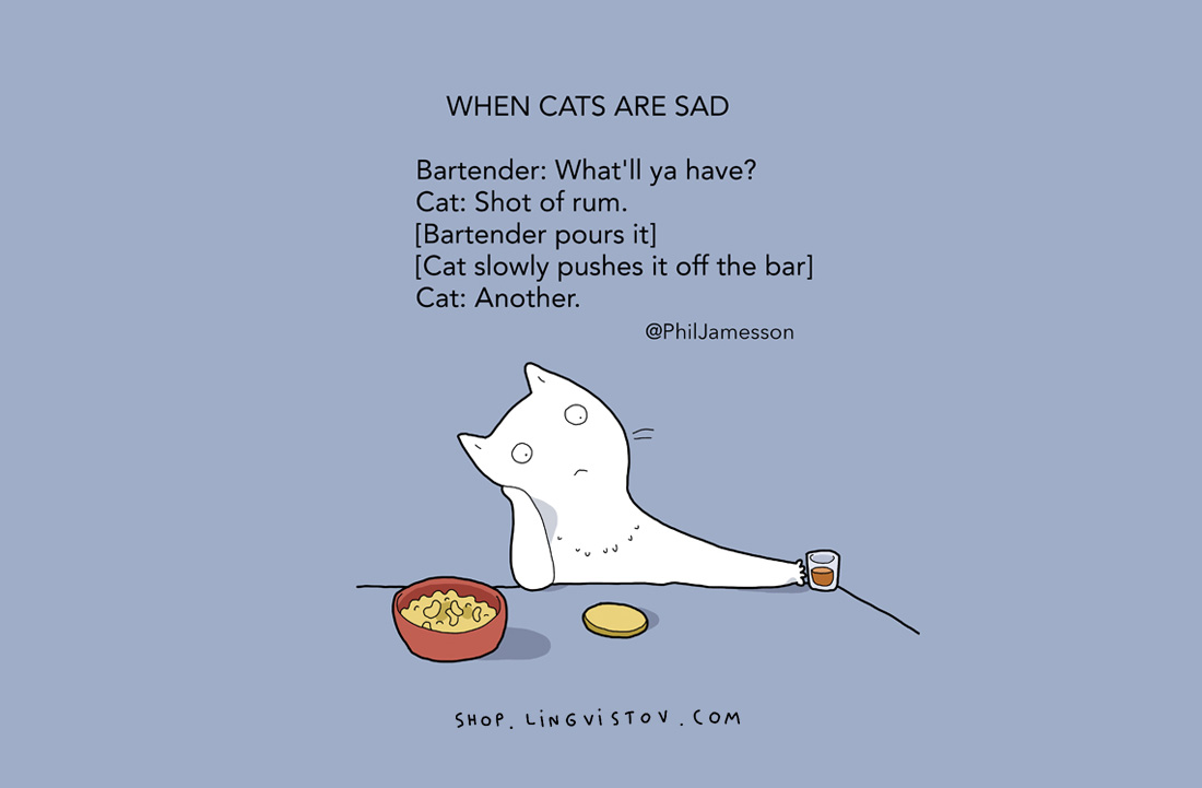 КОГА КОТКИТЕ СА ТЪЖНИБарман: Какво ще обичате?Котка: Един шот с ром.[Барманът налива][Котката бавно го избутва от бара].Котката: Още един.
