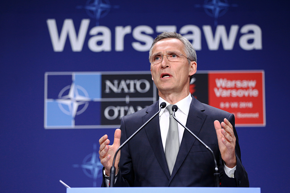 NATO Secretary General Jens Stoltenberg speaks at a news conference during the NATO Summit in Warsaw, Poland, July 9, 2016.