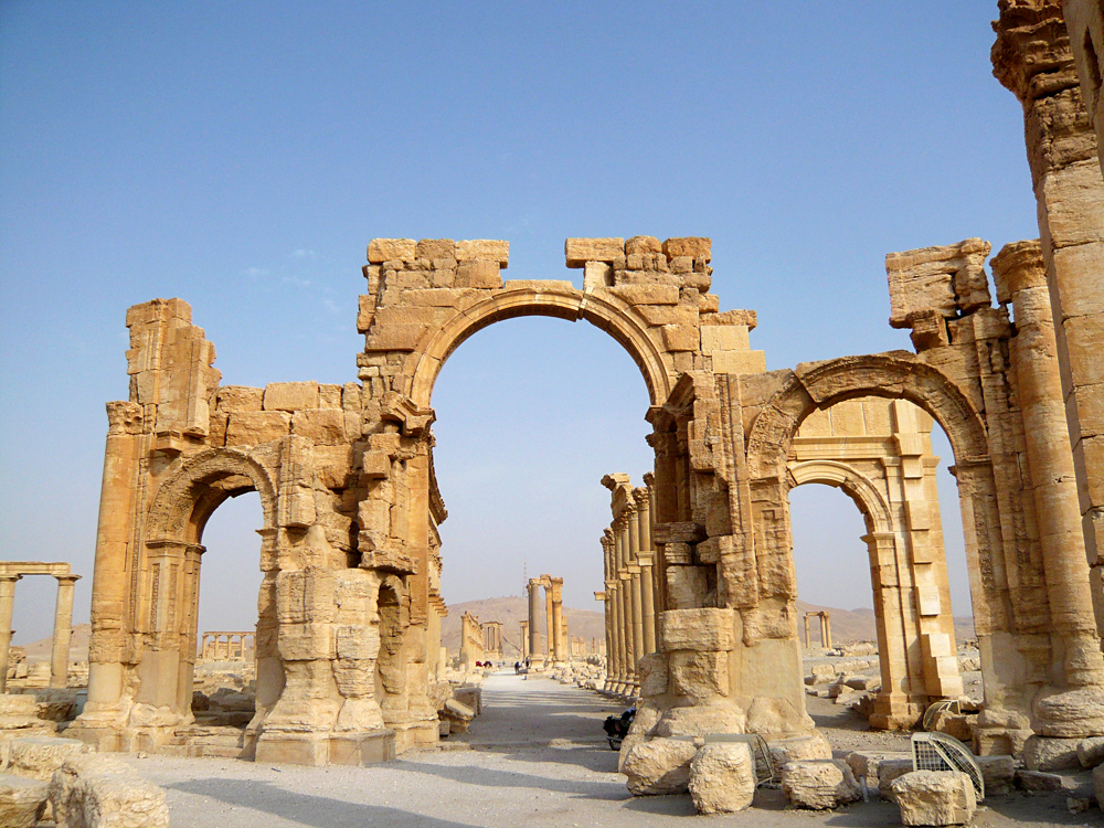 A view shows the Monumental Arch in the historical city of Palmyra, Syria, August 5, 2010.