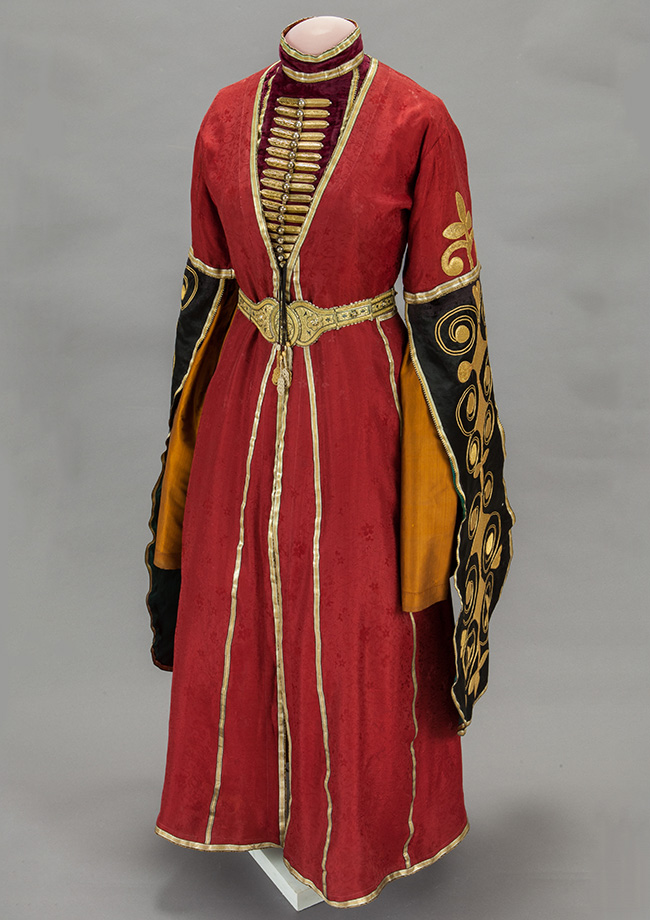 The festive costumes of people from the Caucasus are represented by one of the last arrivals to the museum's collection: the Adigeni full parade costume. / Female outfit. Adigeni. Beginning of the XX century.