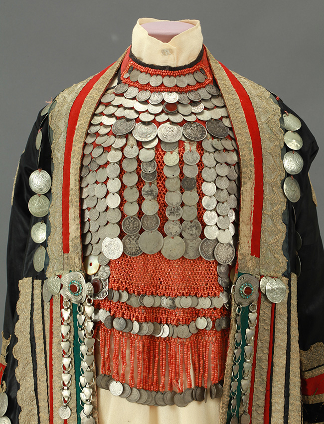The collection includes items made from fabrics, crochet, leather, fur, metal, glass, pearls, plastic and other materials. / Female outfit. Bashkiria. End of the XIX century.