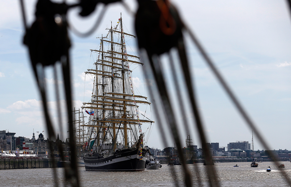 Tall ship Kruzenshtern from Russia sails during a parade prior to the start of the Tall Ships Race 2016 in Antwerp, Belgium