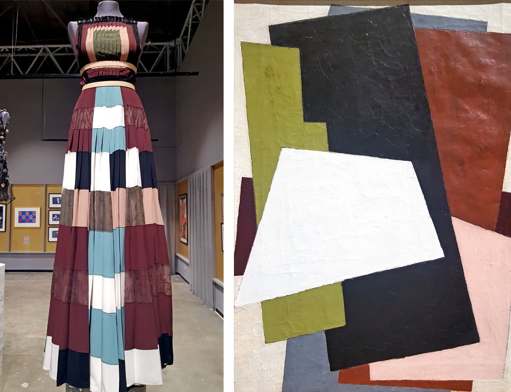 "The Jewish Museum and Tolerance Center in Moscow presents the exhibition ""Time Effect: the Influence of the Russian Avant-Garde on Modern Fashion"". / Valentino, Spring-Summer 2016; Lubov Popova, Painterly Architectonic, 1917."