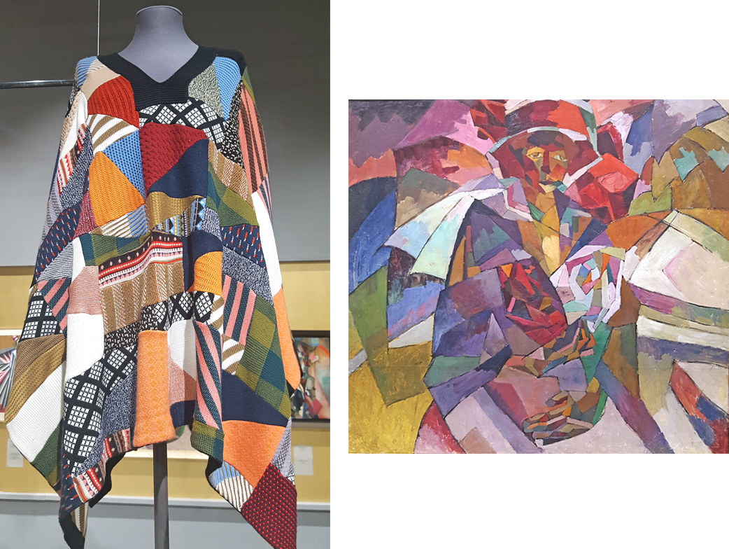 La exposición muestra diseños de algunas casas de moda que utilizar colores, patrones y formas de pintores vanguardistas. / Chloe, otoño-invierno de 2015-2016; Aristarkh Lentulov, Retrato de M. P. Lentulova con rosas, 1913.