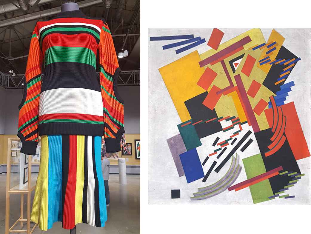 The masterpieces of Russian avant-garde artists greatly resemble some clothing pieces by the world's leading fashion houses, including Prada, Valentino, Loewe, Marni, Celine, Diana von Furstenberg, and the Russian brand Walk of Shame. / J. W. Anderson, Cruise collection 2016; Olga Rosanova, Abstract composition, 1916.