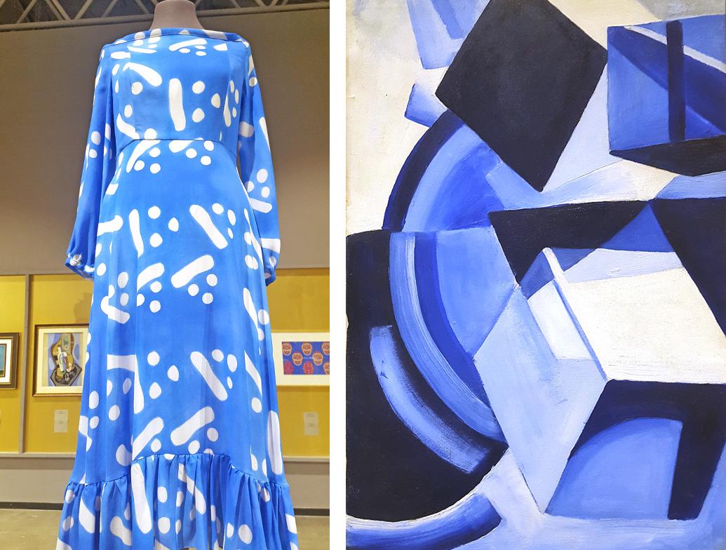 Un siglo separa a las obras de arte de la ropa, pero los motivos vanguardistas empleados en los tejidos se ven modernos y sublimes. / Tata Naka, primavera-verano de 2016; Ksenia Ender, Dinámica de esferas geométricas, 1918.