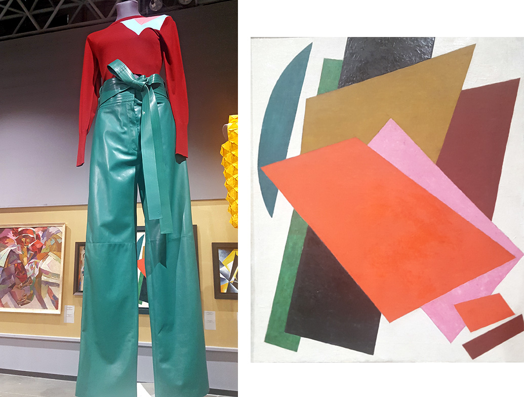 Over the course of history the figurative arts have served as a tool for studying the history of dress. The heritage of painting, graphic art, and photography gives an insight into the evolution of ceremonial, military, working and other clothes from different epochs. / Loewe, Spring-Summer 2016; Lubov Popova, Painterly Architectonic, 1916 – 1917.