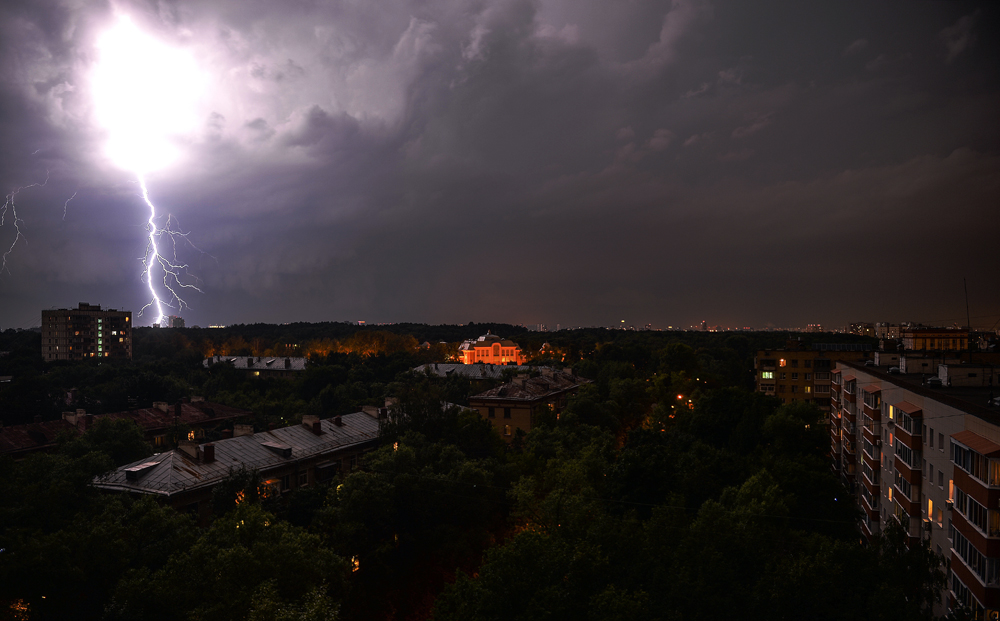 During a storm in northern Moscow.