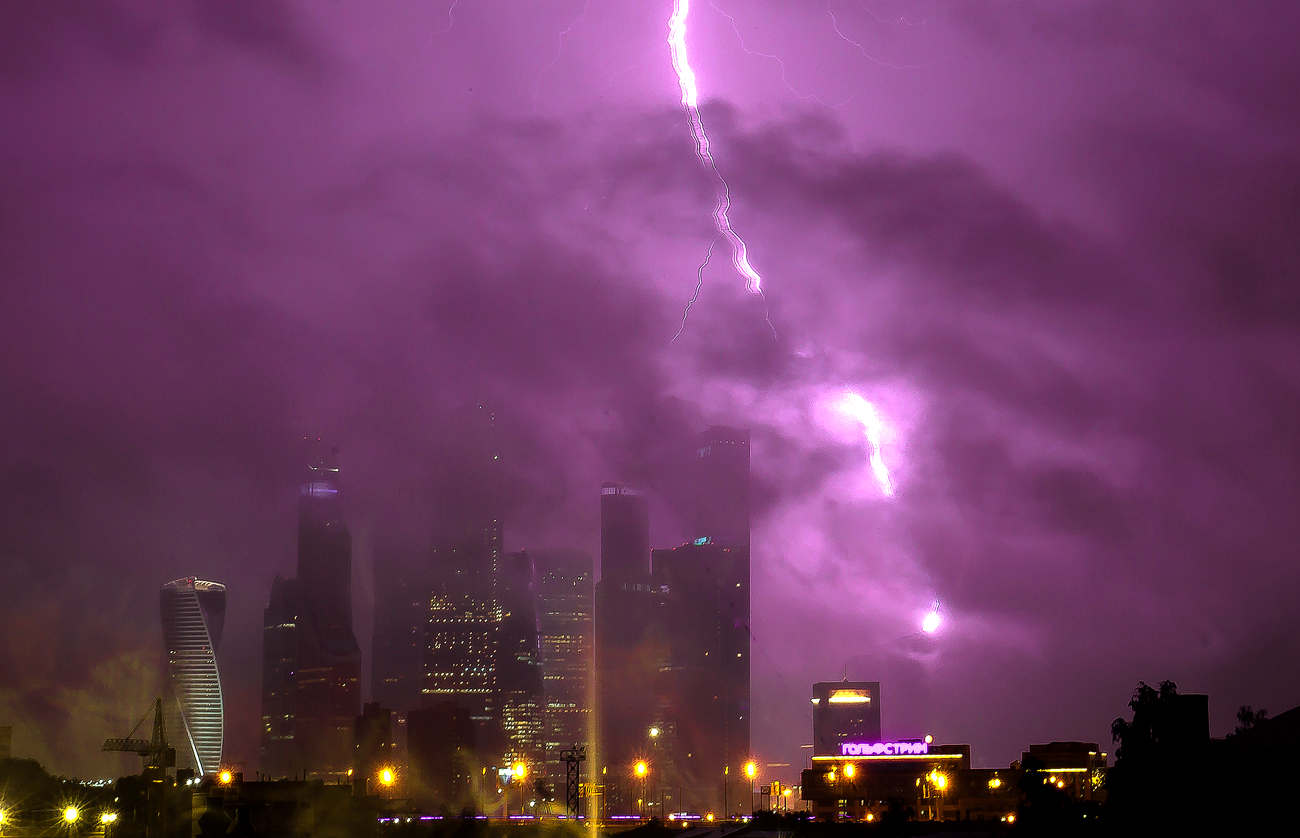Lightning over the Moscow-City International Business Center