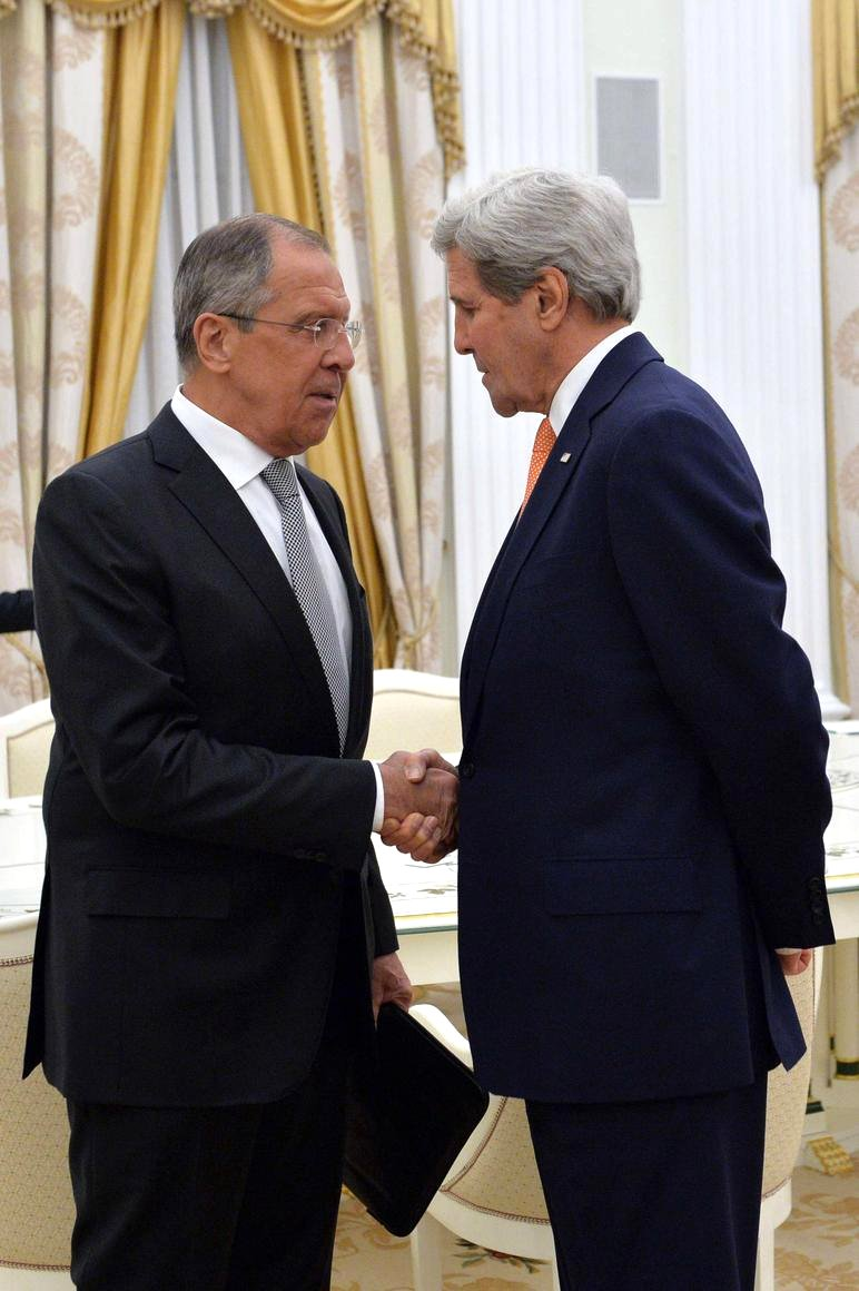 Russian Foreign Minister Sergey Lavrov and U.S. Secretary of State John Kerry in Moscow.