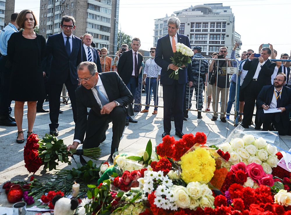 Russian Foreign Minister Lavrov, U.S. Staet Secretary John Kerry offer condolences on Nice terror attack.