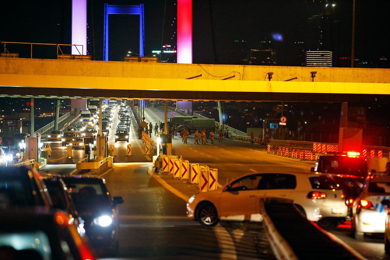 Turkish soldiers block Istanbul's Bosporus Bridge on Friday, July 15, 2016,
