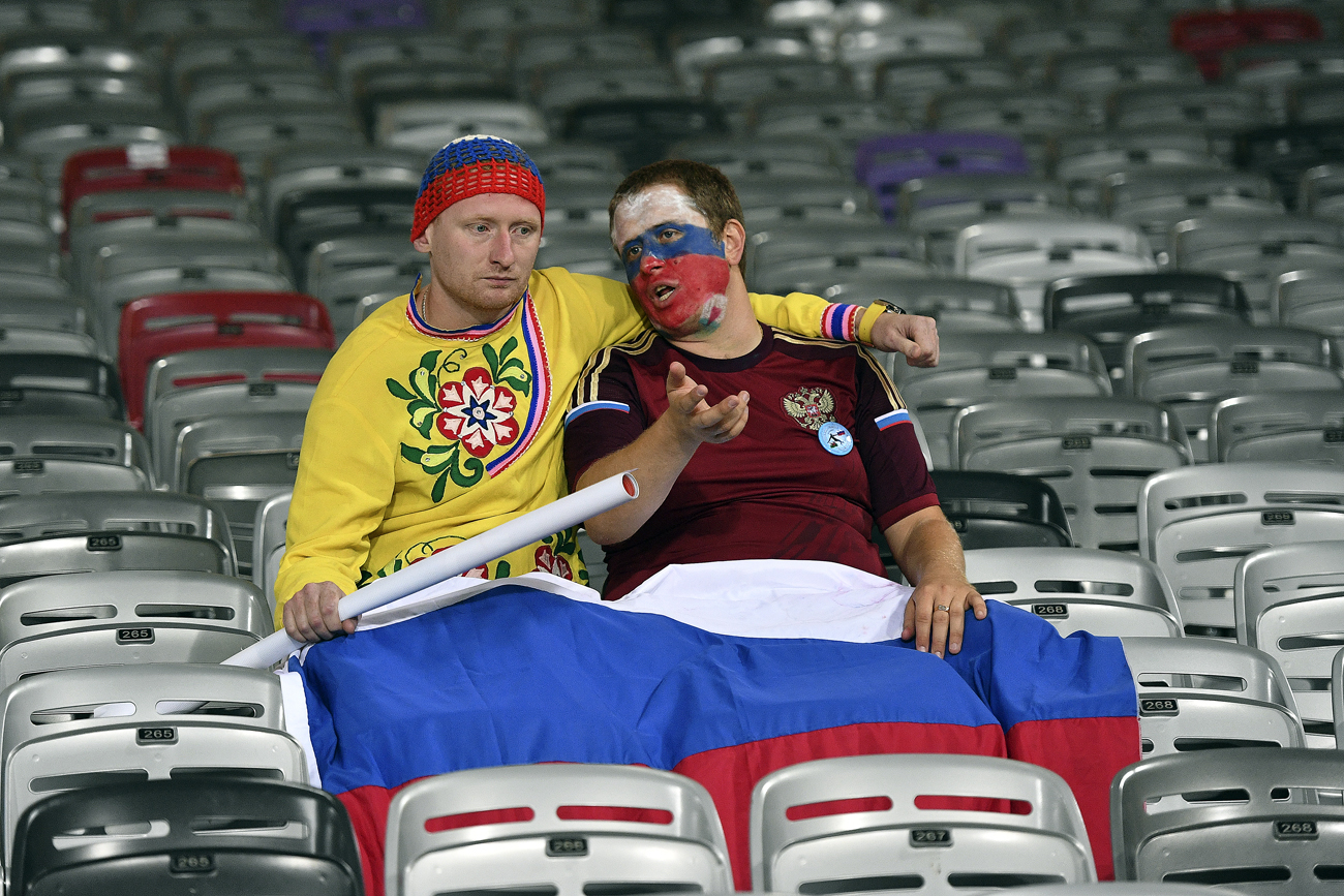 Russian fans after the UEFA Euro 2016 group stage match between the national teams of Russia and Wales.