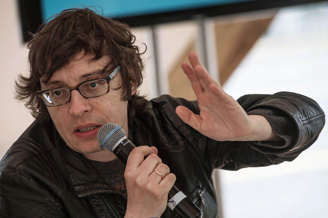 Writer Andrei Astvatsaturov performing at the Red Square Book Festival in Moscow.