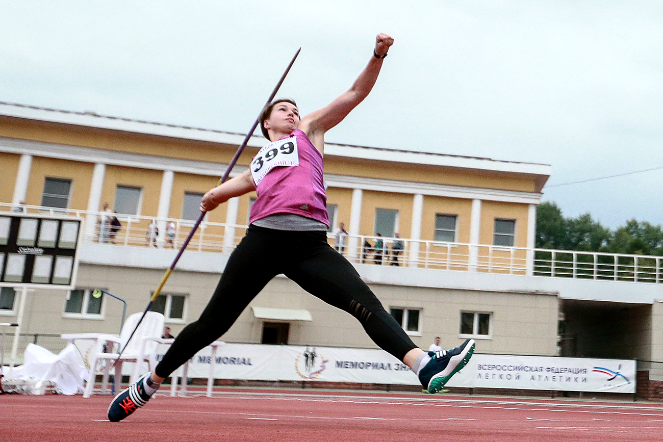 Vera Rebrik during the javelin throw event at the Russian Track and Field Cup at the Meteor stadium in Zhukovsky, Moscow Region.