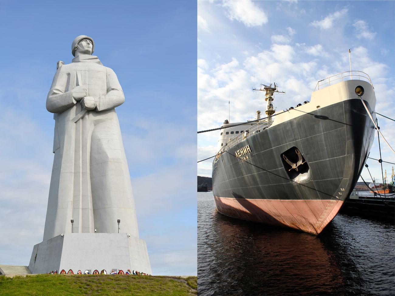 """Мурманск, най-големият град в света северно от Полярния кръг, също е морски център. Нищо чудно, че основните му символи са гигантският ледоразбивач """"Ленин"""" и паметникът """"Альоша"""", който е посветен на съветските войници, моряци и пилоти, сражавали се във Втората световна война."""