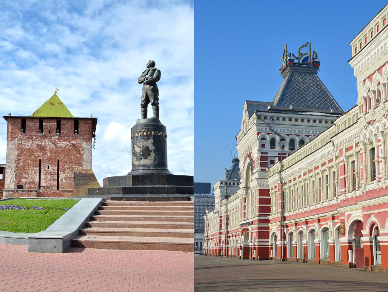 Нижни Новгород, още един град на р. Волга, е известен с паметника на пилота-пионер Валерий Чкалов и очарователната барокова сграда на местния панаир.
