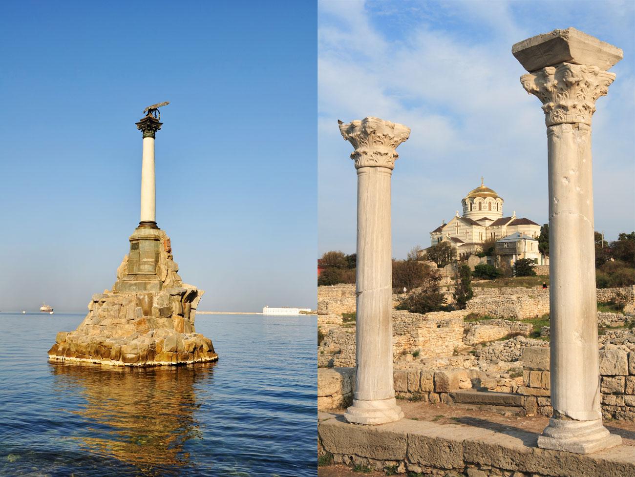 Севастопол в Крим, люлката на руския Черноморски флот, има дълга и бурна история. Основните му символи са паметник на потъналите кораби и техните руини в древния град Херсонесос.