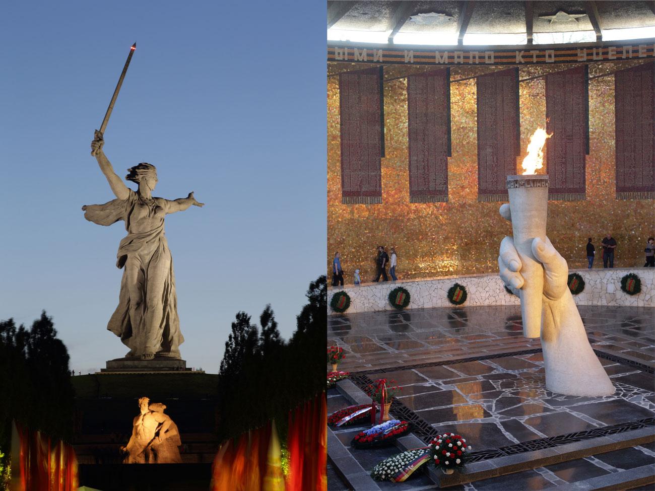 """Всички руски граждани могат да предложат град и съответен символ, заслужаващи да се появят на новите банкноти от по 200 и 2000 рубли, които ще бъдат пуснати догодина. / Вечният огън и паметникът """"Родината Майка зове"""" на хълма Мамаев курган във Волгоград. Мемориалният комплекс е издигнат през 1960-те години в чест на победата на Червената армия срещу нацистките нашественици в Битката при Сталинград през 1942-1943 година."""