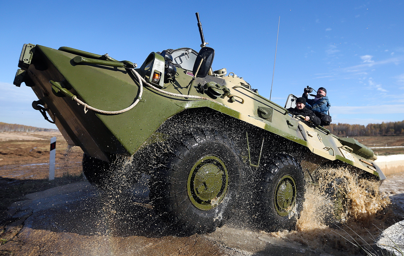 A BTR-80 Russian amphibious armoured personnel carrier.
