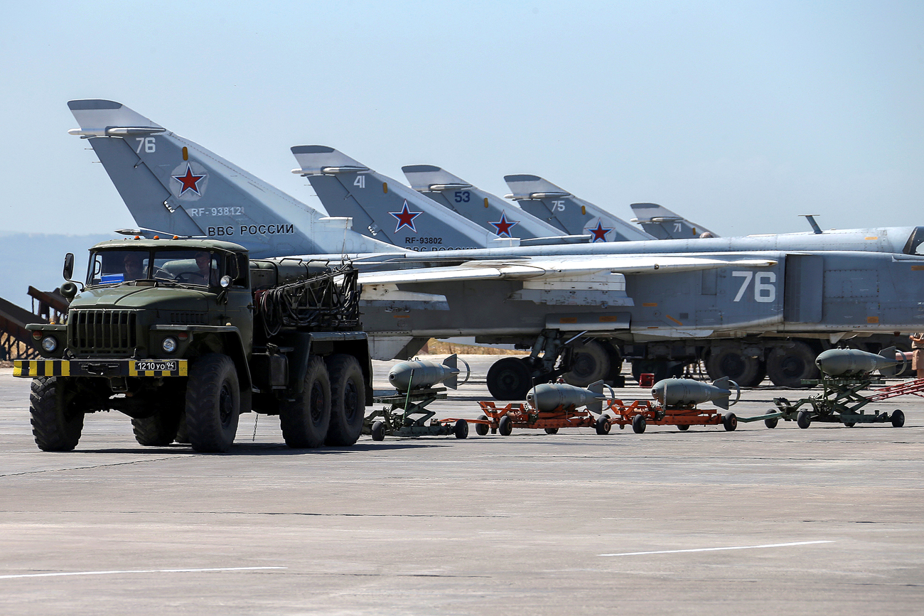 """It is high time to show that the Syrian people can rely on Russia in a very long-term prospect,"" says senator. Photo: Russian military jets are seen at Hmeymim air base in Syria."