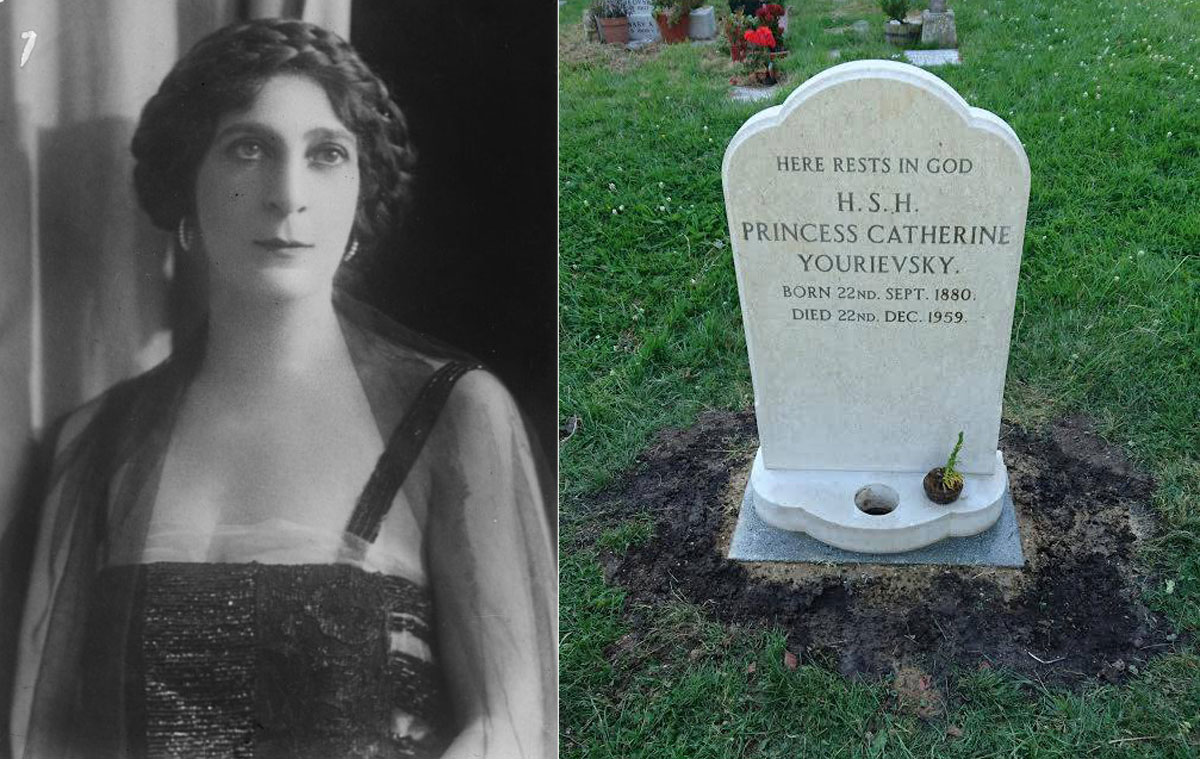 Catherina Yourievsky and her grave in the UK.