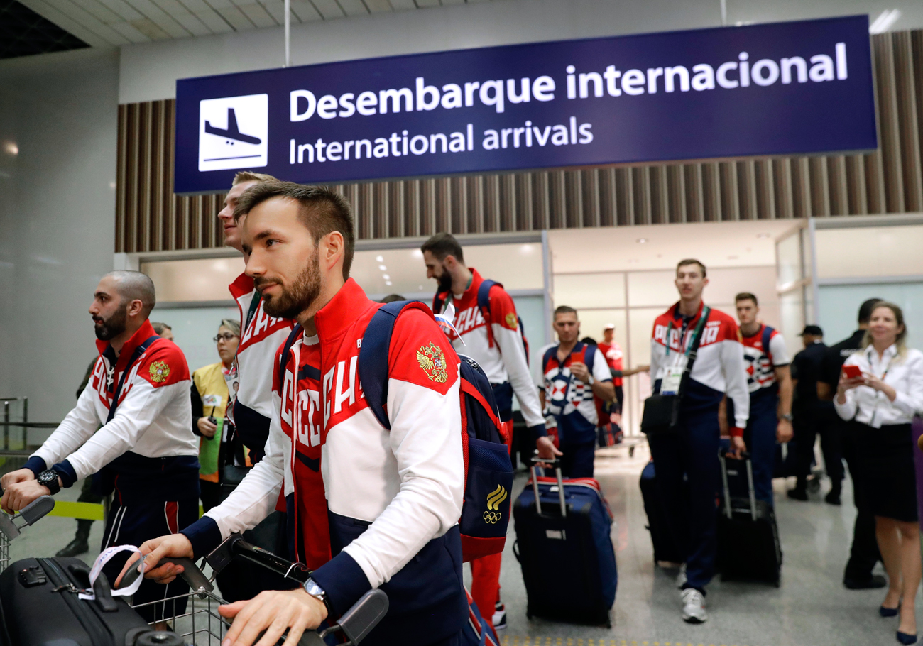 Members of the Russian Olympic delegation arrive at Rio de Janeiro International Airport in Rio de Janeiro, Brazil