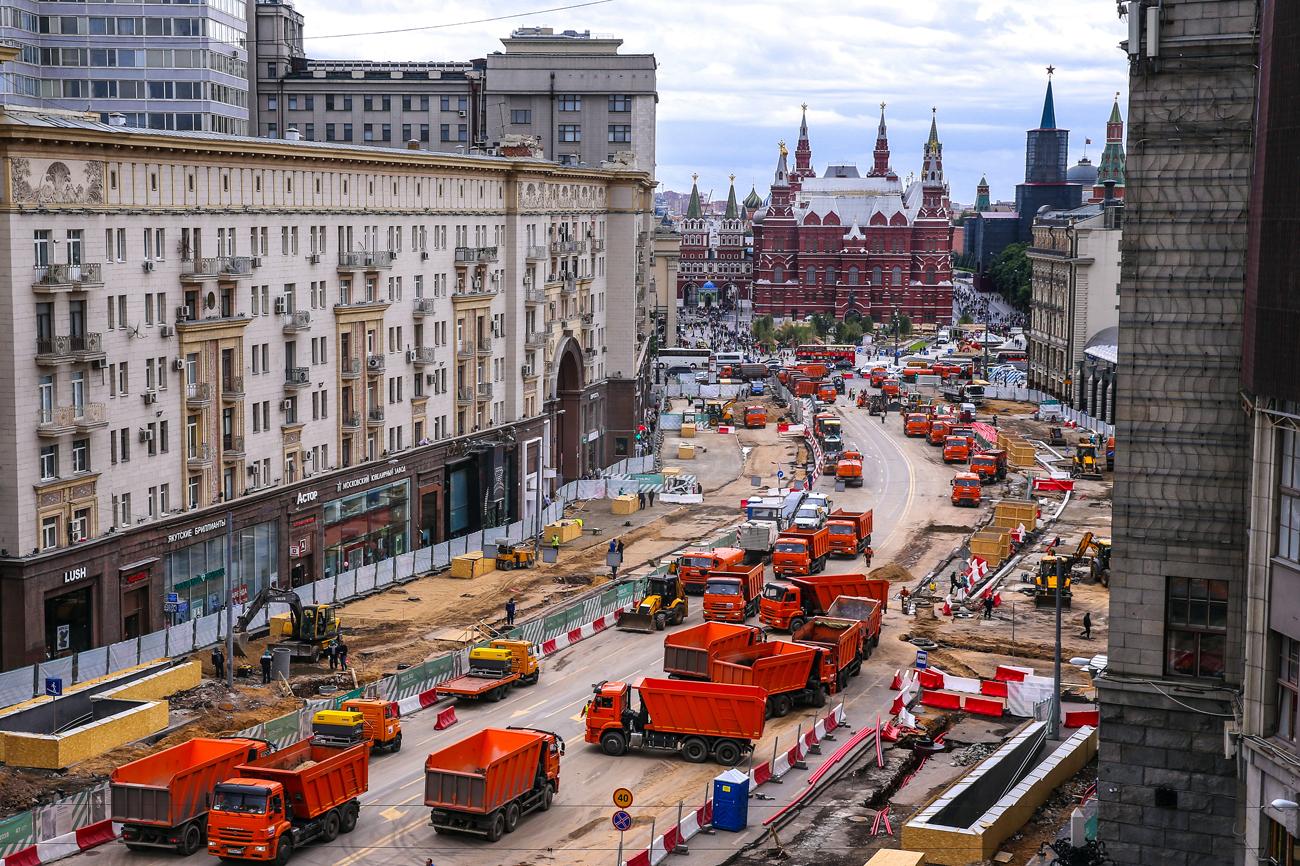 Reconstrucción de la calle Tverskaya a principios de Junio 2016.