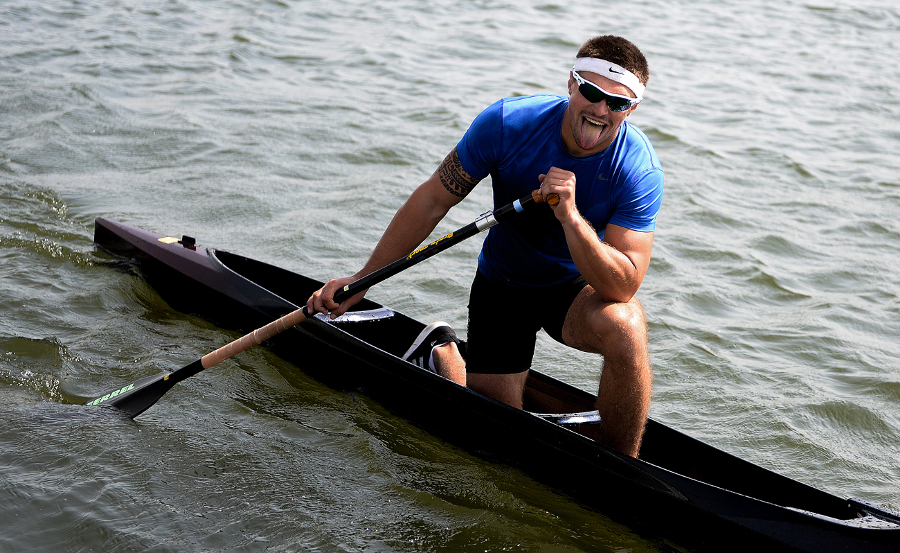 Athlete Andrei Kraitor after the final race during the men's 200m canoe singles during the Russian Kayaking and Canoeing Championships at the Krylatskoye Rowing Canal.