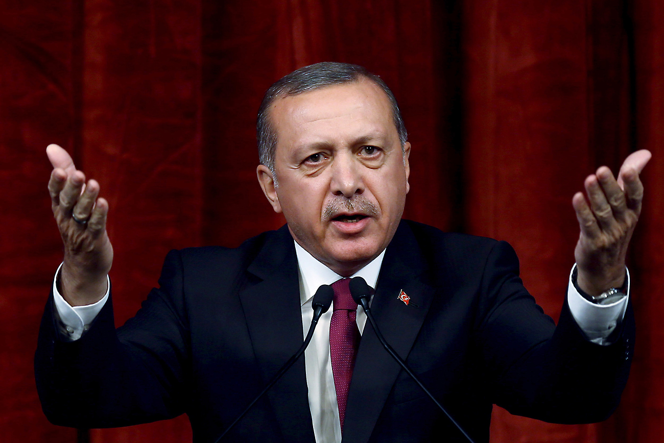 Turkey President delivers a speech commenting on those killed and wounded during a failed July 15 military coup, in Ankara, Turkey, on July 29, 2016. The government crackdown in the coup's aftermath has strained Turkey's ties with key allies including the United States.